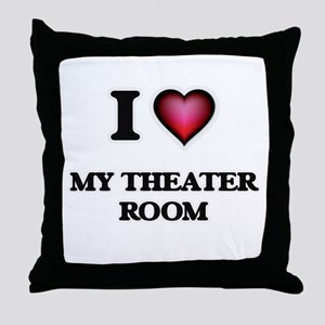 I Love My Theater Room Throw Pillow