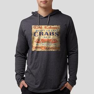 vintage crab woodgrain beach a Long Sleeve T-Shirt