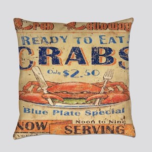 beach seafood vintage crab Everyday Pillow