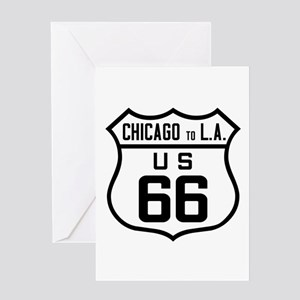 US Route 66 Chicago to L.A. Greeting Cards