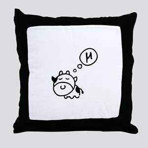 Cow says 'mu' Throw Pillow