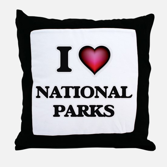 I Love National Parks Throw Pillow