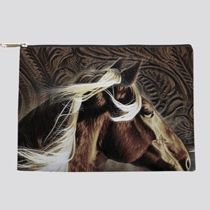 western country leather horse Makeup Bag