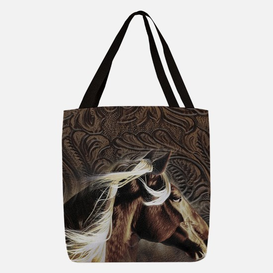 western country leather horse Polyester Tote Bag