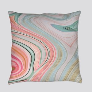 coral mint marble swirls Everyday Pillow
