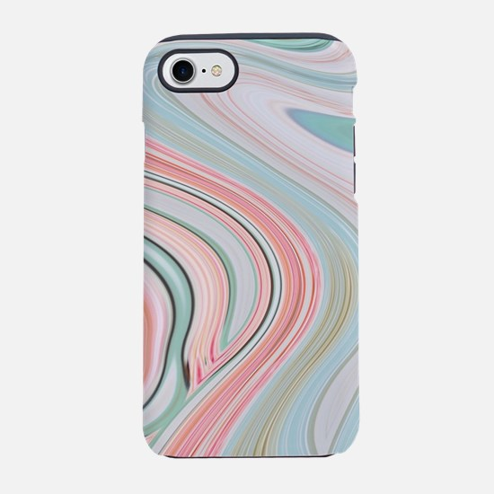 coral mint marble swirls iPhone 8/7 Tough Case