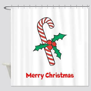 Candy Cane Personalized Shower Curtain