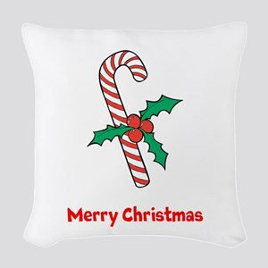 Candy Cane Personalized Woven Throw Pillow