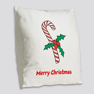 Candy Cane Personalized Burlap Throw Pillow