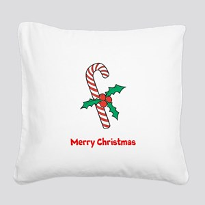 Candy Cane Personalized Square Canvas Pillow