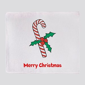 Candy Cane Personalized Throw Blanket