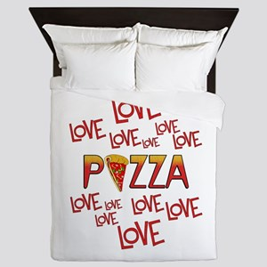 Love Love Pizza Queen Duvet
