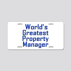 World's Greatest Property M Aluminum License Plate