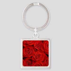 modern romantic red rose petals Keychains