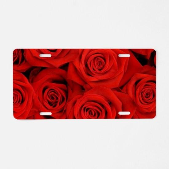 modern love red rose Aluminum License Plate