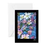 Cherry Blossom Greeting Cards on black (Pk of 10)