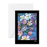 Cherry Blossom Greeting Card on black