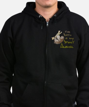The sloth is my Spirit animal Zip Hoodie (dark)