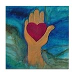 Heart in Hand Tile Coaster