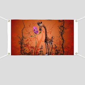 Funny giraffe with flower Banner