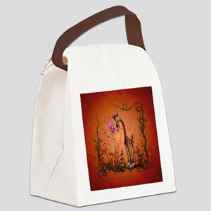 Funny giraffe with flower Canvas Lunch Bag