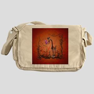 Funny giraffe with flower Messenger Bag