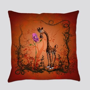 Funny giraffe with flower Everyday Pillow