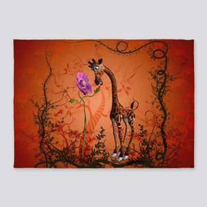Funny giraffe with flower 5'x7'Area Rug