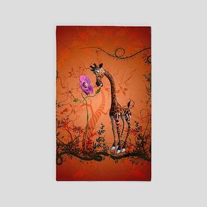 Funny giraffe with flower Area Rug