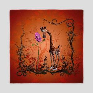 Funny giraffe with flower Queen Duvet