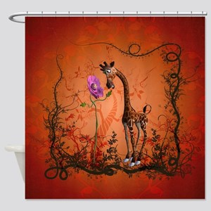 Funny giraffe with flower Shower Curtain
