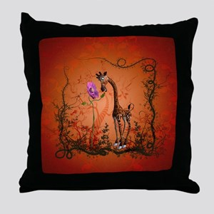 Funny giraffe with flower Throw Pillow