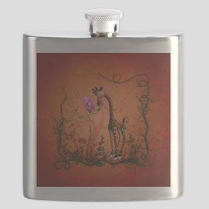 Funny giraffe with flower Flask