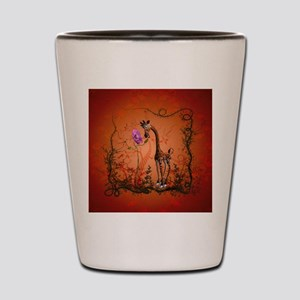 Funny giraffe with flower Shot Glass