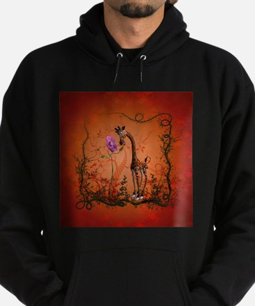 Funny giraffe with flower Hoodie