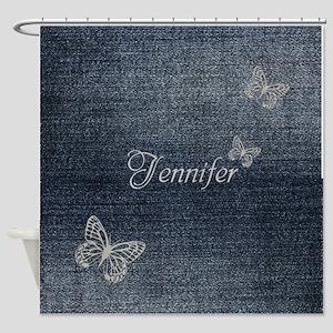 Cute Blue Denim Butterfly Shower Curtain