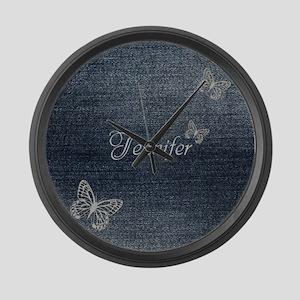 Cute Blue Denim Butterfly Large Wall Clock