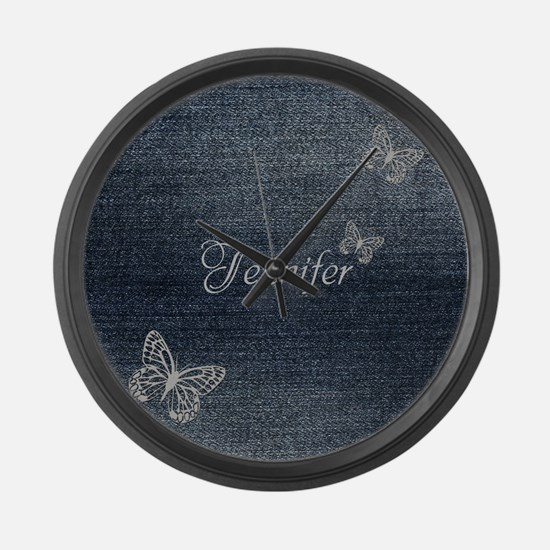 Cute Blue Denim Butterfly Large Wall Clock