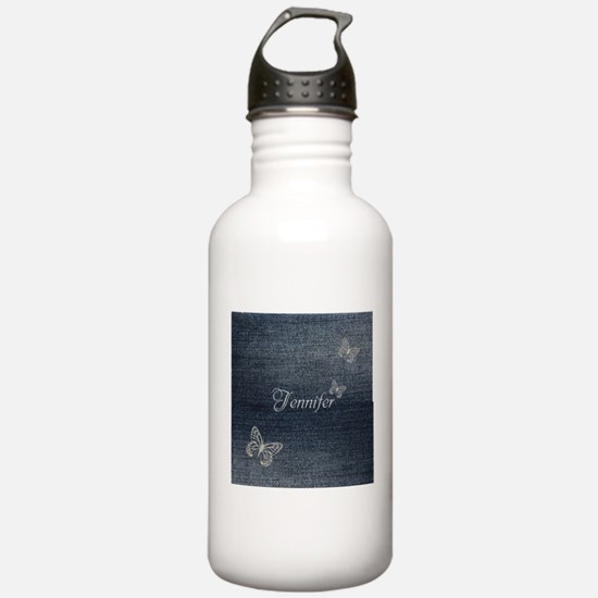 Cute Blue Denim Butterfly Water Bottle