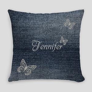 Cute Blue Denim Butterfly Everyday Pillow