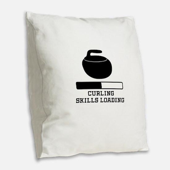 Curling Skills Loading Burlap Throw Pillow