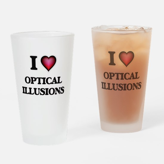 I Love Optical Illusions Drinking Glass