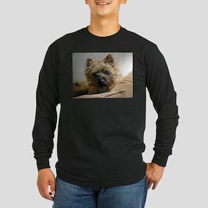 Pensive Cairn Terrier Long Sleeve Dark T-Shirt