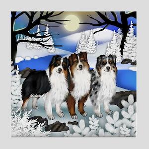 AUSTRALIAN SHEPHERD DOGS FROZEN RIVER Tile Coaster