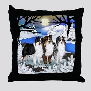 AUSTRALIAN SHEPHERD DOGS FROZEN RIVER Throw Pillow