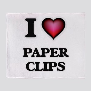 I Love Paper Clips Throw Blanket