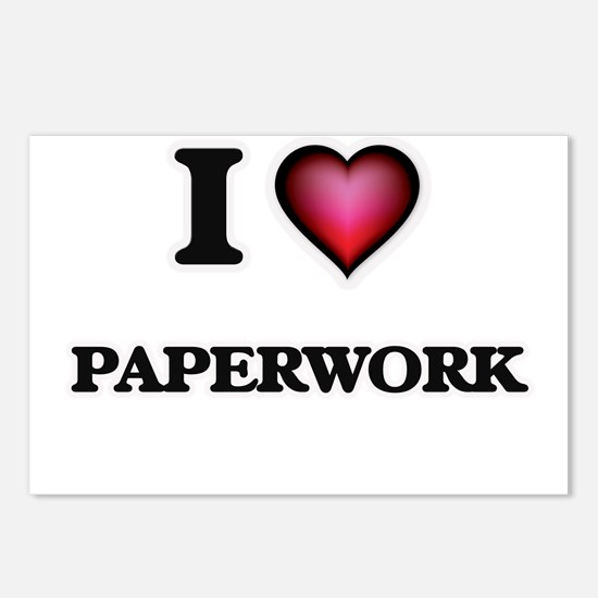 I Love Paperwork Postcards (Package of 8)