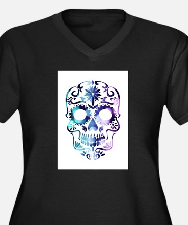 Blue & Purple Sugar Skull Plus Size T-Shirt