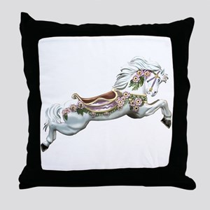 White Jumper Carousel Throw Pillow