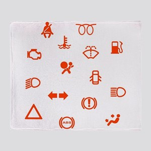 Vehicle Dash Warning Symbols Throw Blanket